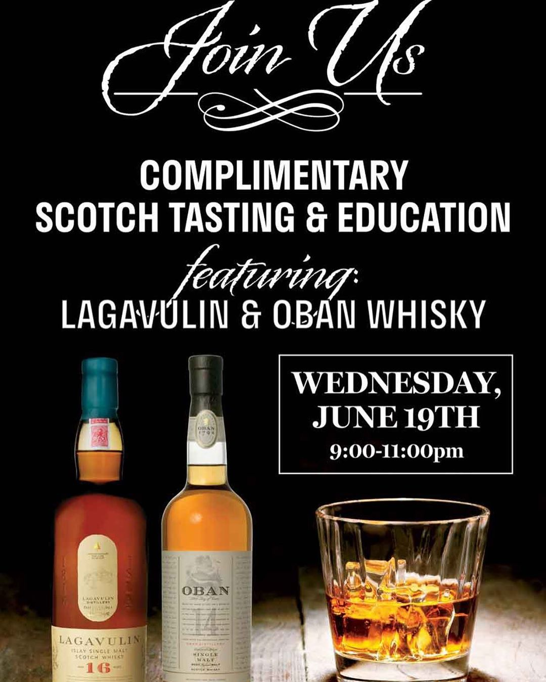 Join us tonight, Wednesday 19th, at Local Whiskey for a complimentary scotch tasting from 9-11 featuring @obanwhisky and Lagavulin! We will be hosting a scotch whisky ambassador who will be going table to table to speak on the unique, and very distinct sc