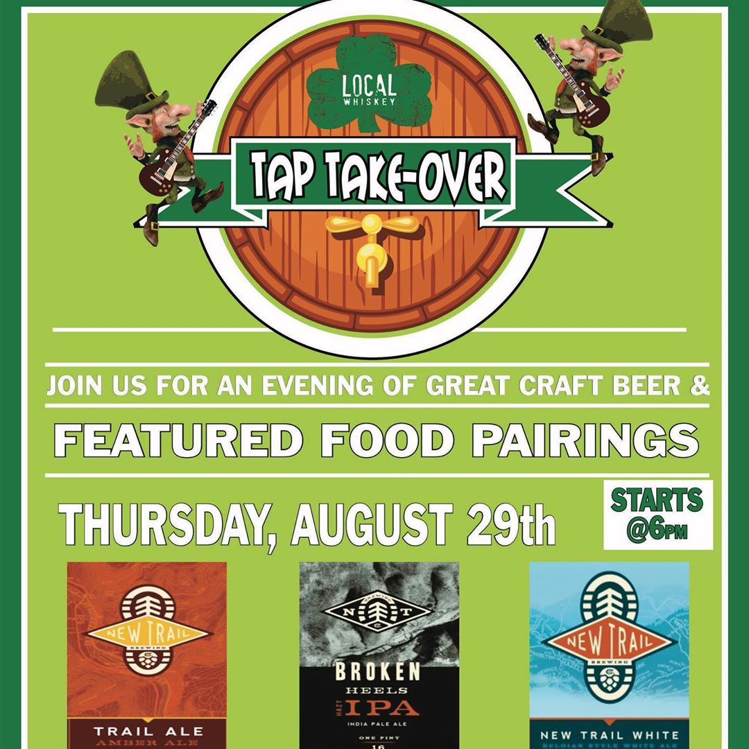 Join us 6pm this Thursday, August 29th, at Local Whiskey as we proudly host @newtrailbrewing for a Tap Takeover!! ••• We will be featuring 11 of their unique and most popular drafts, and as always, custom beer flights, giveaways, and New Trail Brewing ins